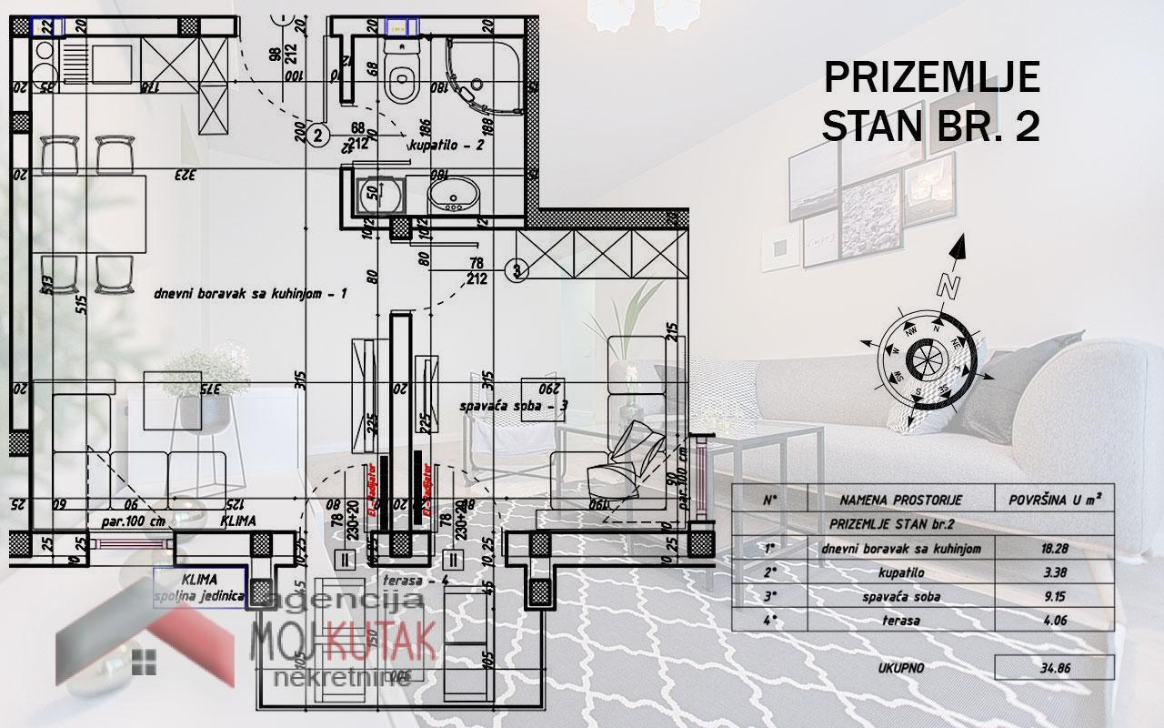 Apartmani Snežnik, Stan br.2 (34,86m2) - Zgrada A