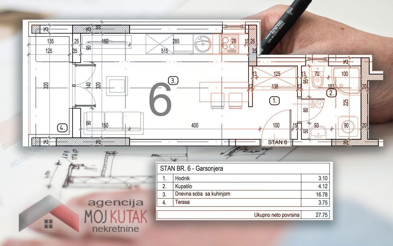 Novogradnja - stan br.6 (27,75m2)