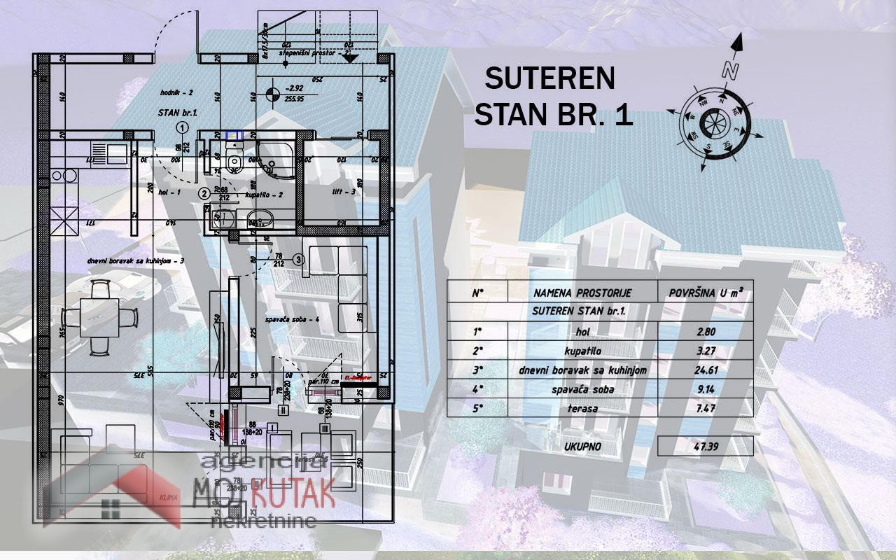 Apartmani Snežnik, Stan br.1 (47,39m2) - Zgrada A