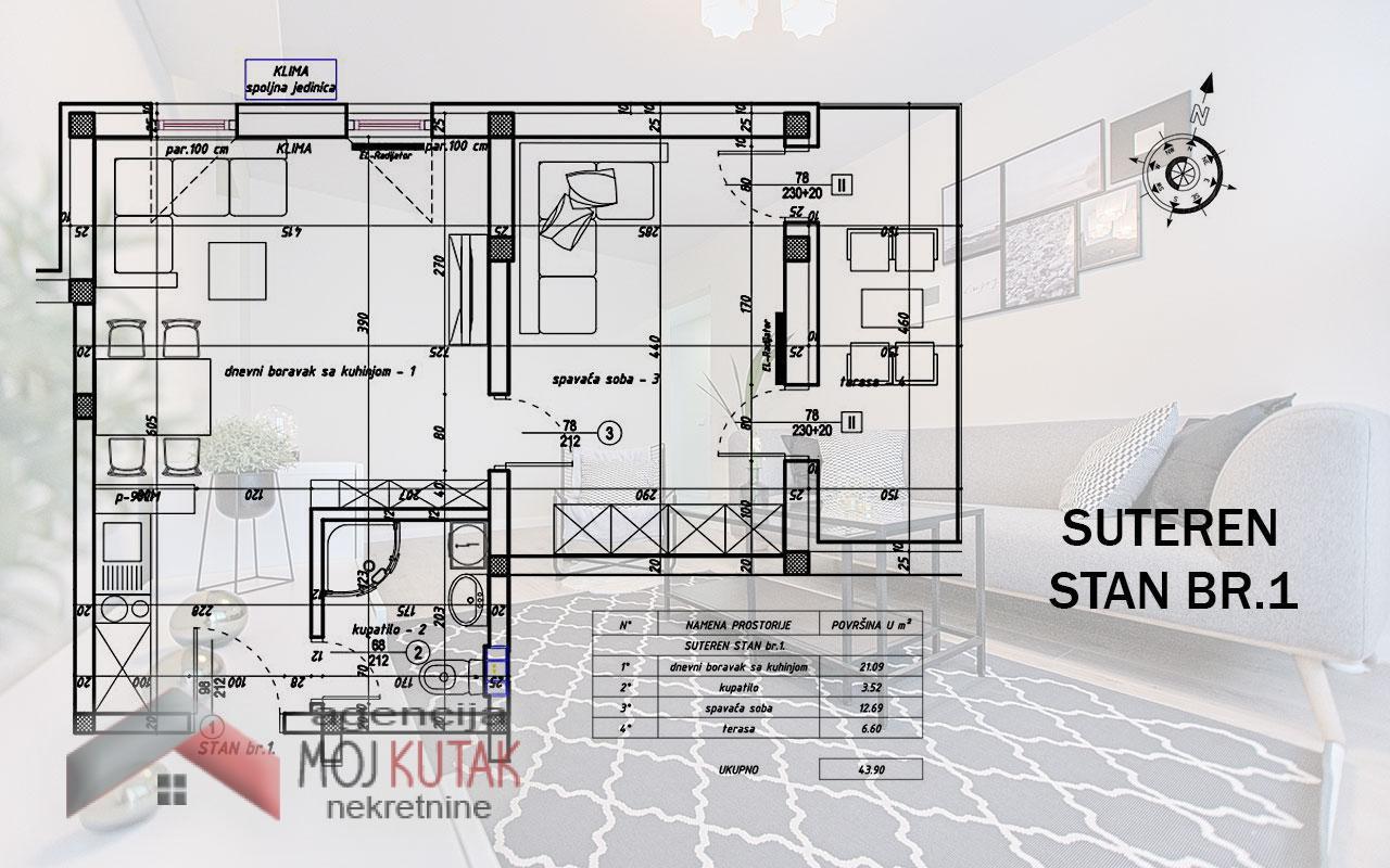Apartmani Snežnik, Stan br.1 (43,90m2) - Zgrada B