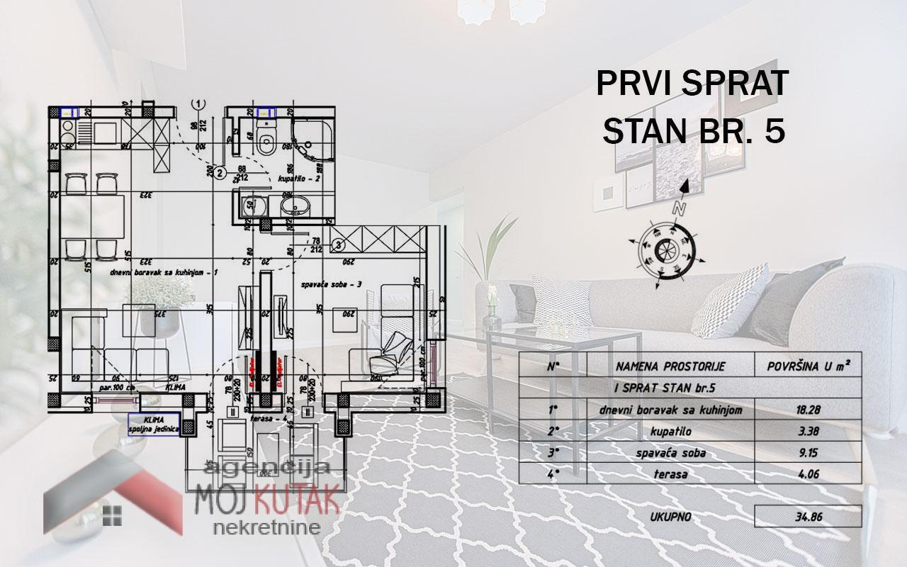 Apartmani Snežnik, Stan br.5 (34,86m2) - Zgrada A